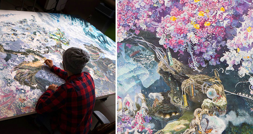 Japanese Artist Manabu Ikeda Finally Finishes Huge Pen Ink
