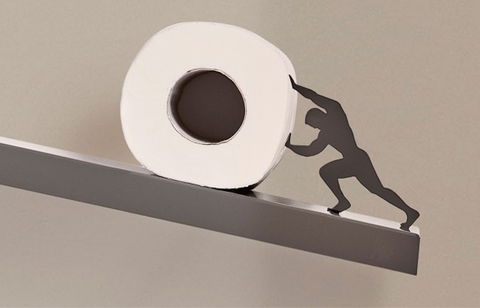sisyphus toilet paper shelf metal figure