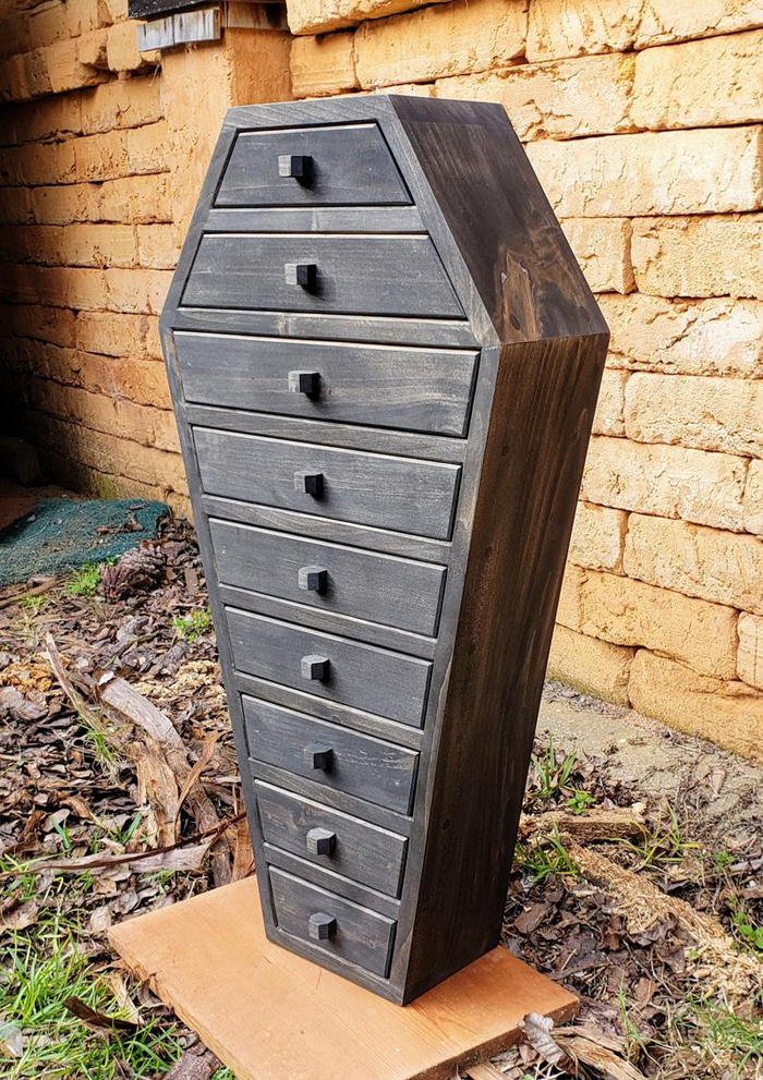 solid wood coffin apothecary cabinet