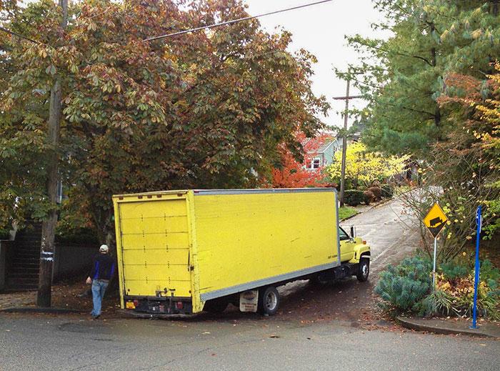 stuck truck ironic moments