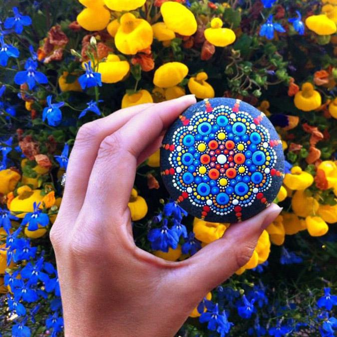 super vibrant mandala stones