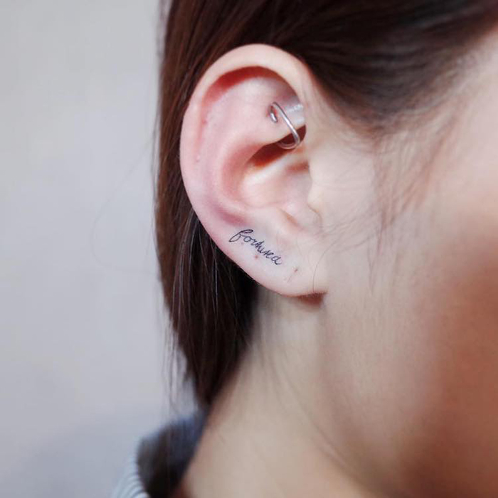 text helix ear tattoo