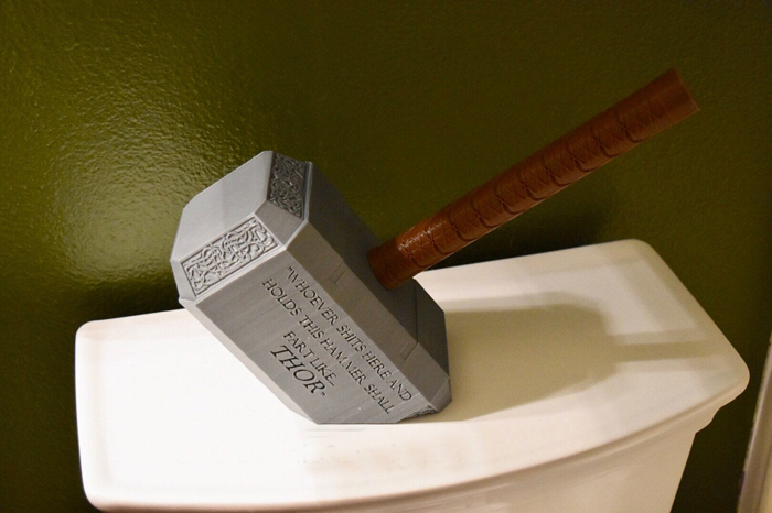 thor hammer toilet paper holder inscription