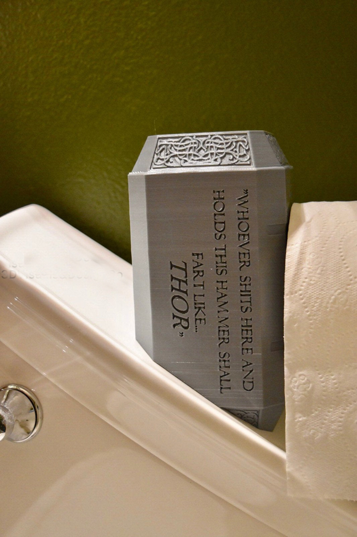 thor hammer toilet paper holder parody phrase
