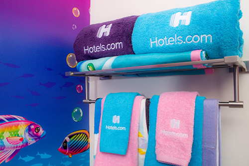 towels at Lisa Frank-themed Hotel Room