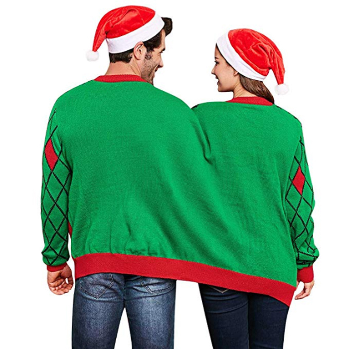 two person ugly christmas sweater green back
