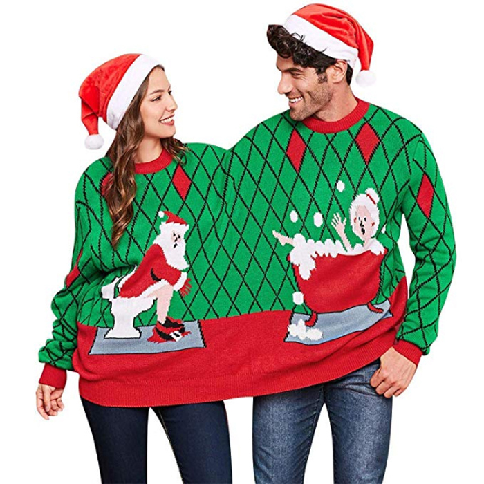 two person ugly christmas sweater green front