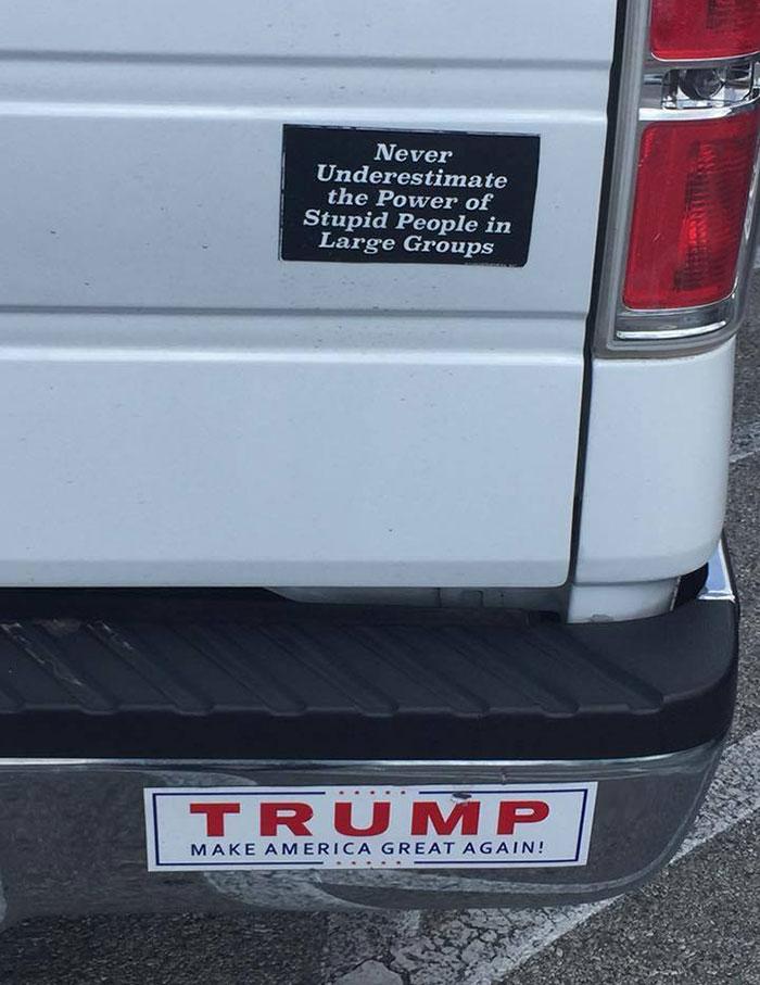 van bumper sticker ironic moments