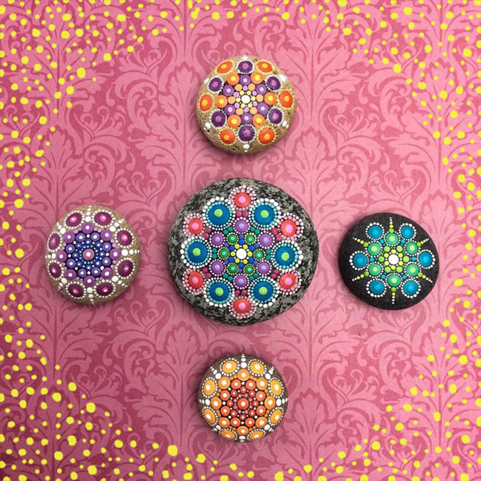 vibrant colorful mandala stones
