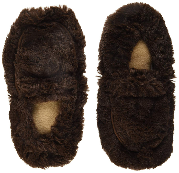 warmies microwavable slippers brown
