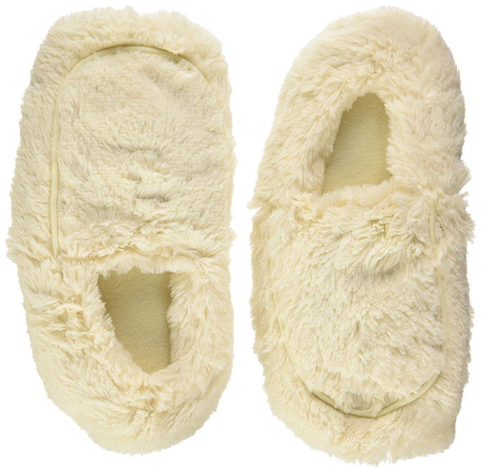 warmies microwavable slippers cream