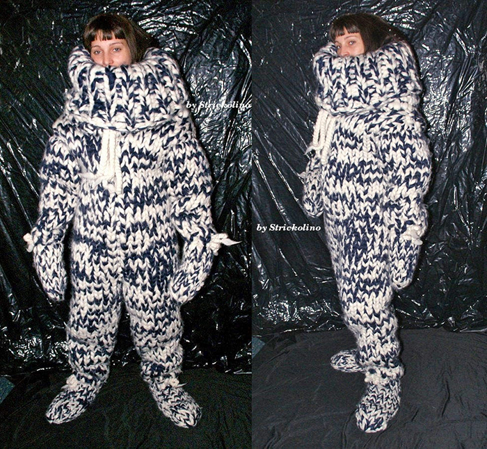 white and navy knitted adult onesie