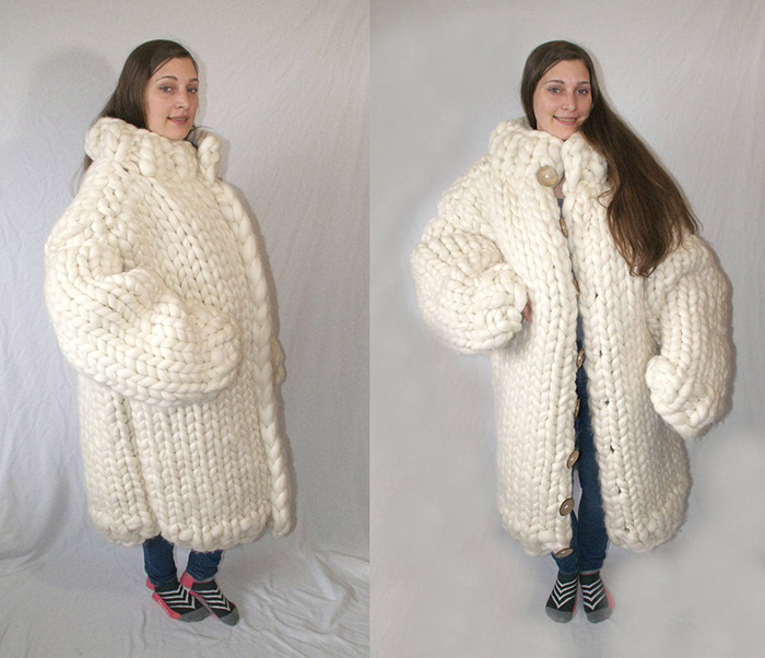 white knitted adult coat