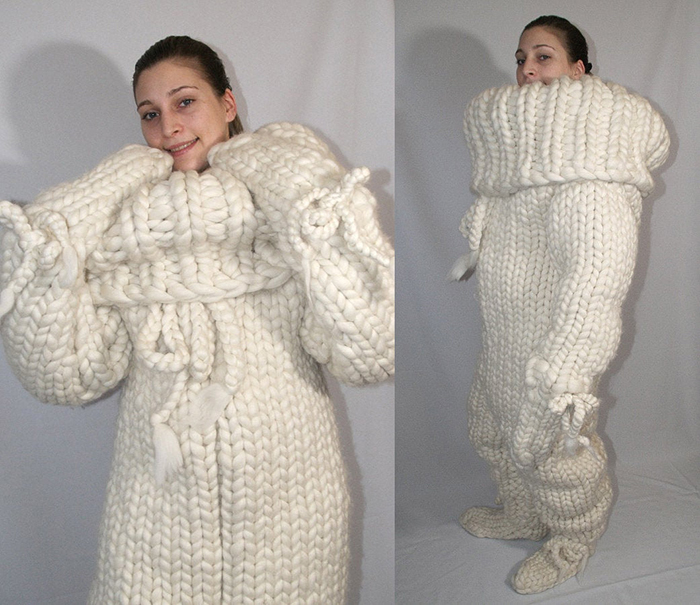 white knitted adult onesie