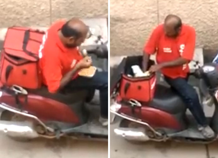 worst delivery drivers licking client spoon