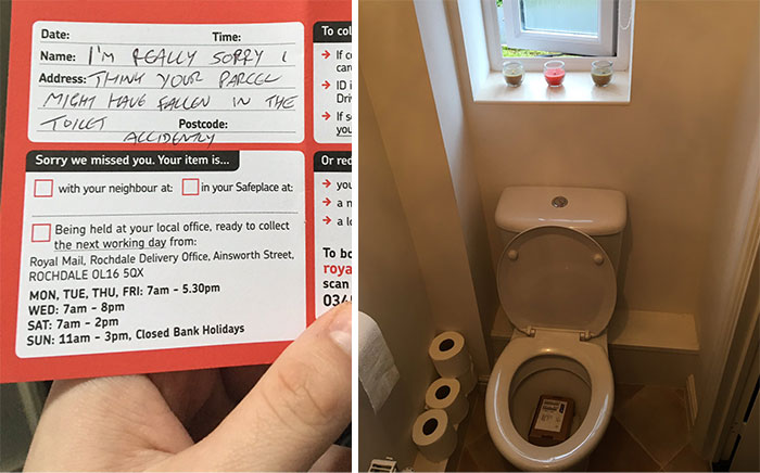 worst delivery drivers package fell into toilet