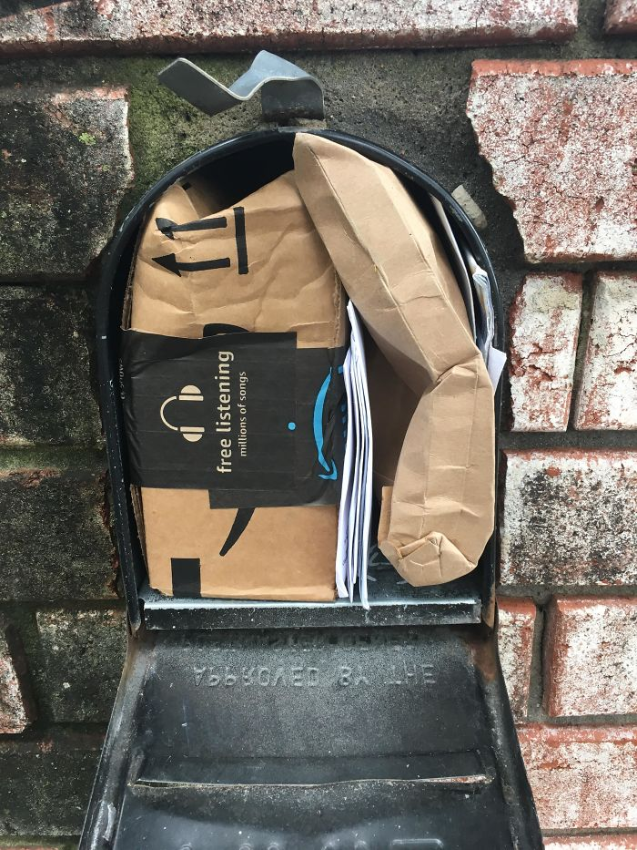 worst delivery drivers packages fitted inside mailbox