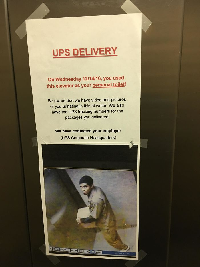worst delivery drivers peeing inside elevator