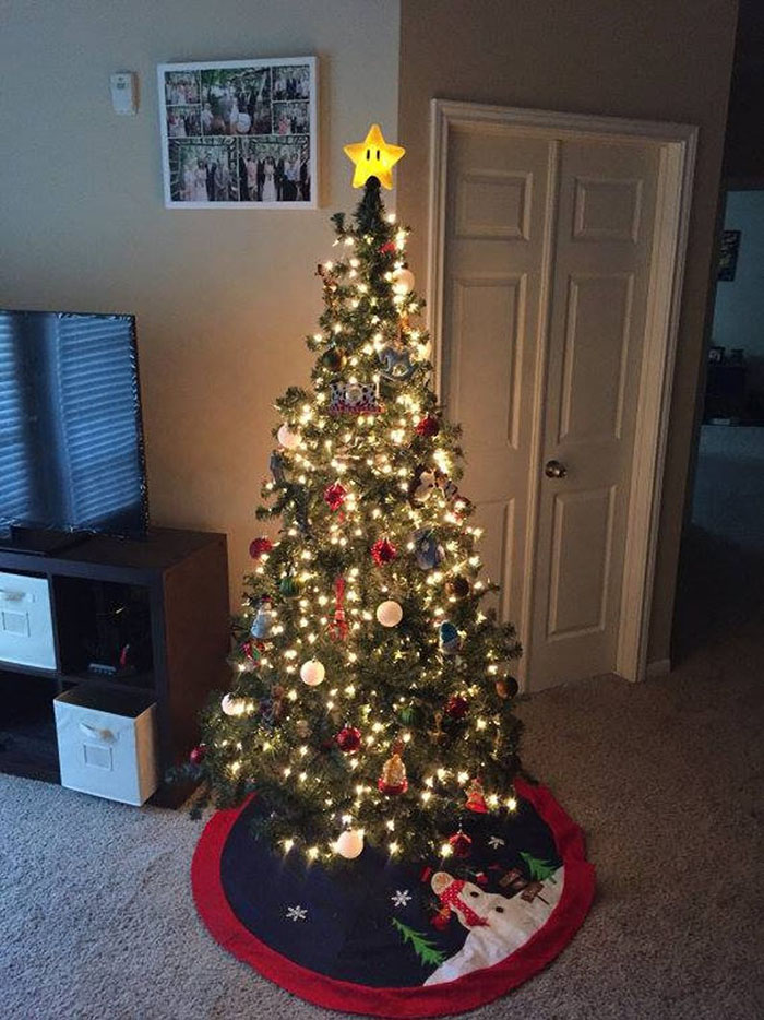 A Christmas Tree With the Super Mario Tree Topper