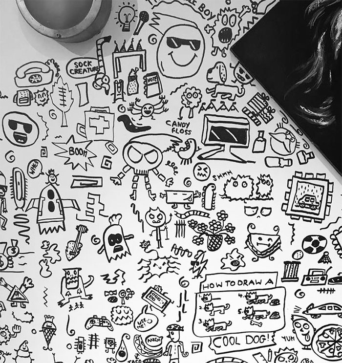 A Portion of Joe Whale's Doodles on a Restaurant's Dining Room Wall 2