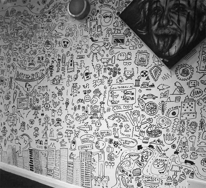 A Portion of Joe Whale's Doodles on a Restaurant's Dining Room Wall 3