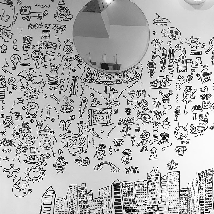 A Portion of Joe Whale's Doodles on a Restaurant's Dining Room Wall 4