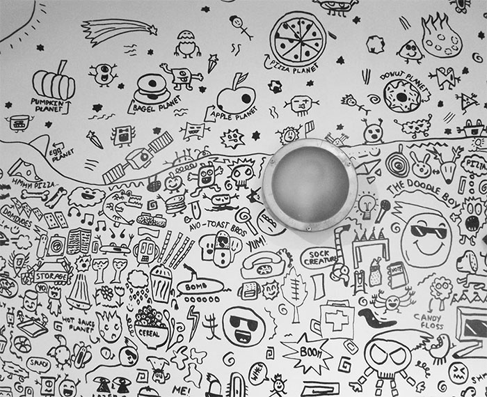 A Portion of Joe Whale's Doodles on a Restaurant's Dining Room Wall