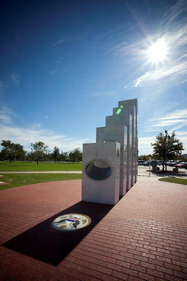 Anthem Veterans Memorial's Five Pillars Spotlighting the US Seal on Veterans Day