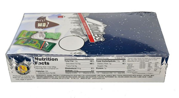 Back of the box of 24 Andes Creme de Menthe Christmas Trees