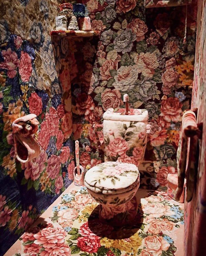 Bathroom Covered in Floral Carpet