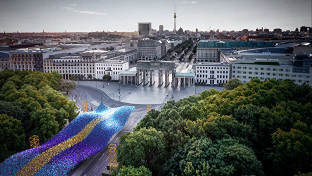 Berlin Wall 30-Year Anniversary Visions in Motion distant aerial view