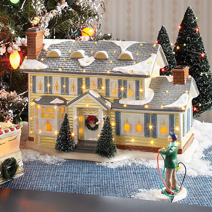Ceramic Replica of The Griswolds' House lit up