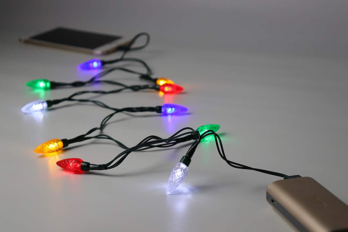 Christmas Lights Phone Charger Connected to a Phone and Powerbank