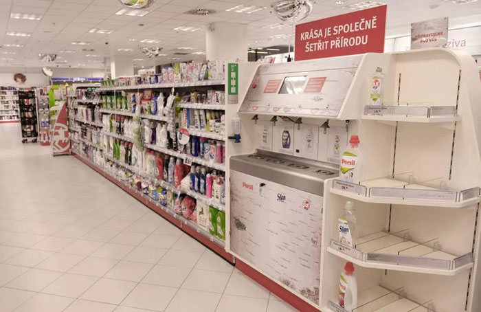 Cleaning Product Refilling Station in a Drugstore in Czech Republic