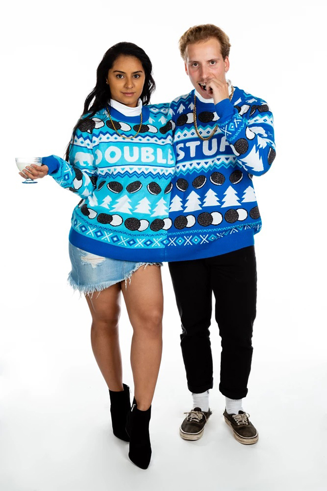 Couple in Double Stuf Oreo Christmas Sweater