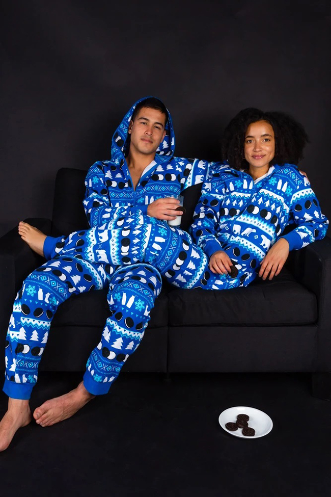 Couple in Oreo Christmas Onesie