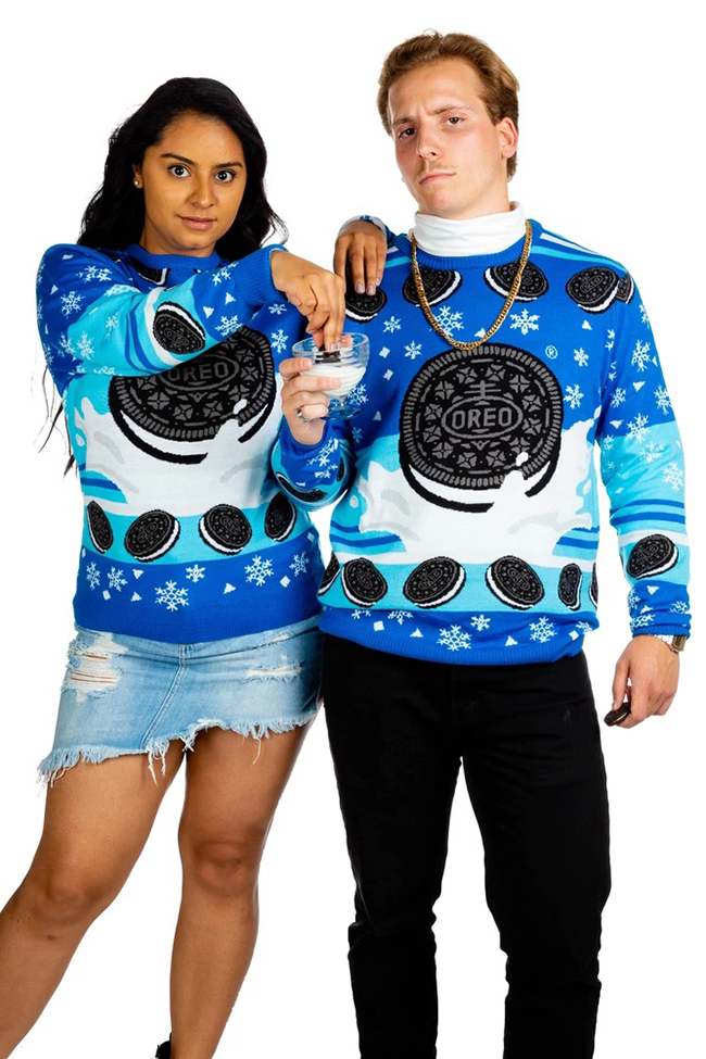 Couple in Oreo Ugly Christmas Sweater