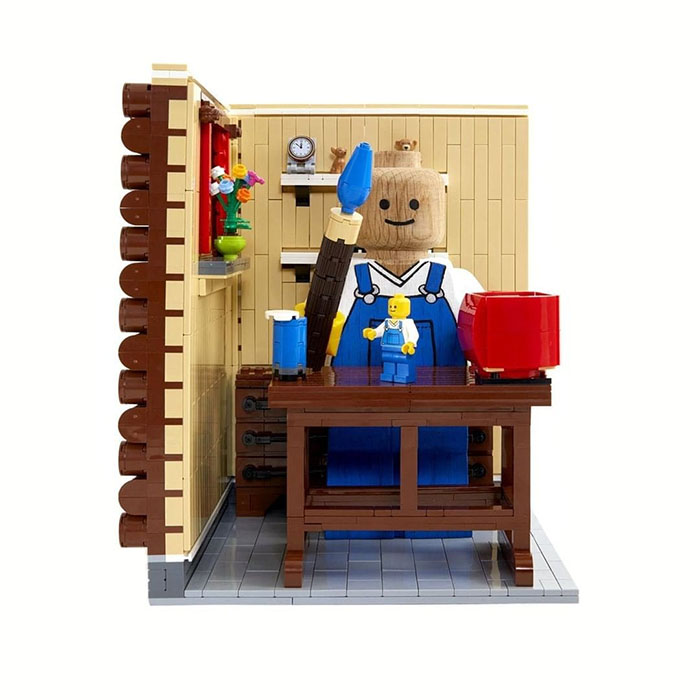 Customized LEGO Wooden Figure Painted as a Painter in His Workshop