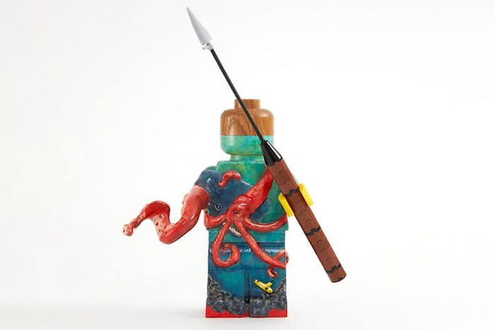 Customized LEGO Minifigure Painted with an Under the Sea Sceneray Featuing a Shark and a Squid