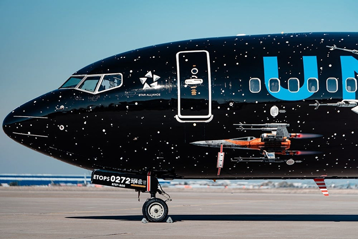 Exterior Details on Star Wars-themed Boeing 737 Plane