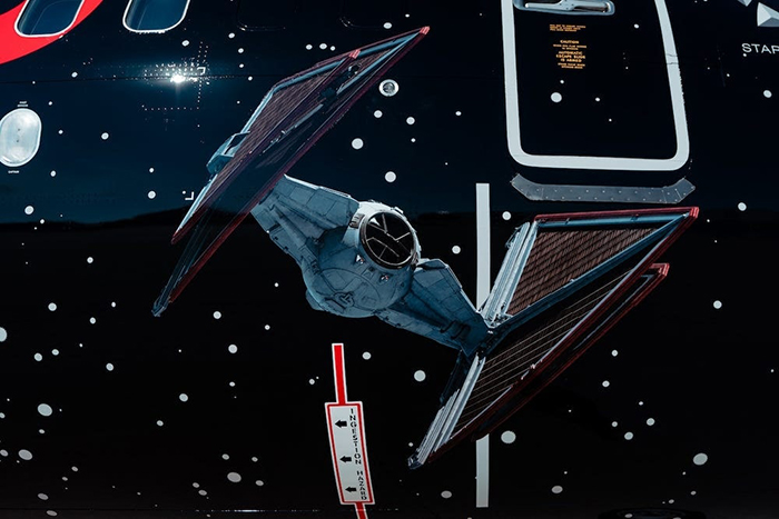 Exterior TIE Fighter Detail on Star Wars-themed Plane