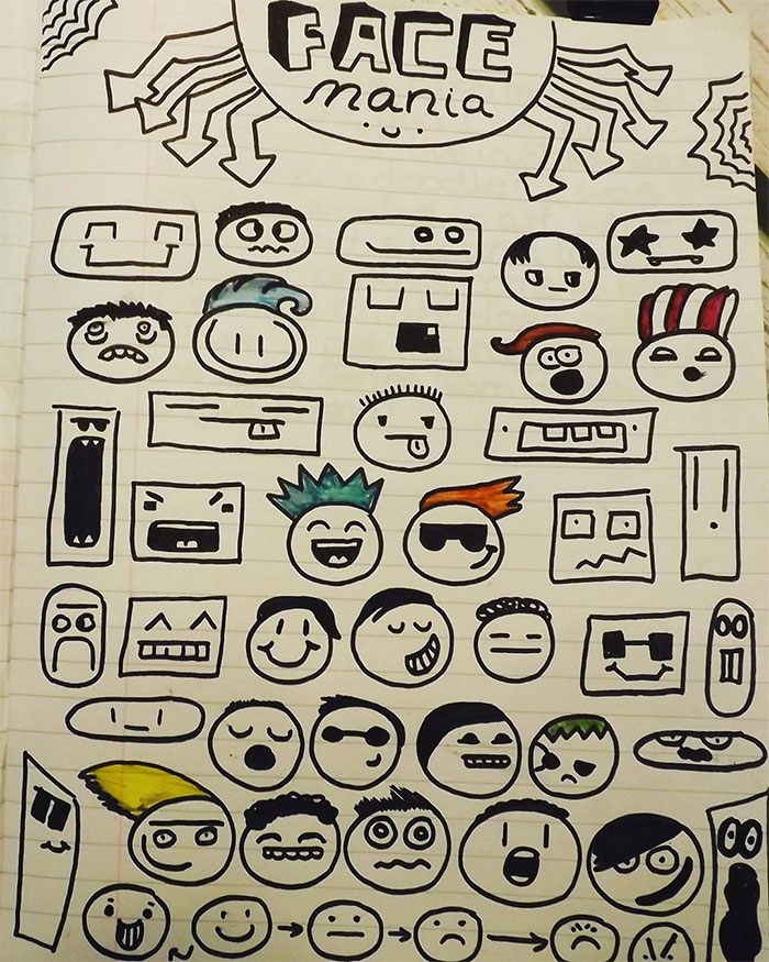 Face Mania Doodles from Joe Whale's Notebook