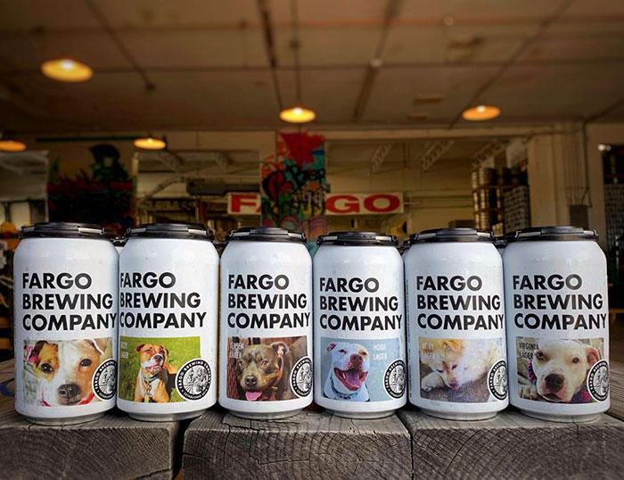 Fargo Brewing Company Beer Cans Featuring Adoptable Dogs