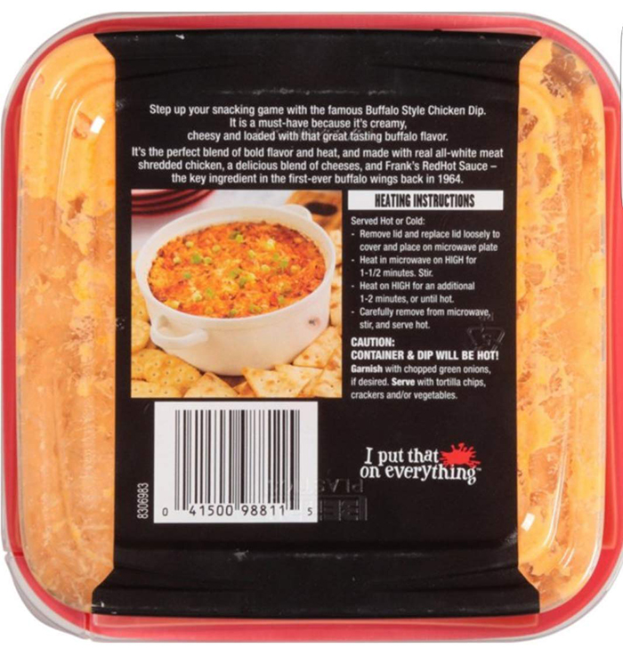 Frank's Redhot Buffalo-Style Chicken Dip Heating Instructions