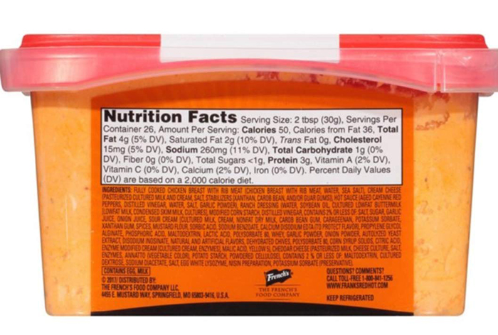 Frank's Redhot Buffalo-Style Chicken Dip Nutrition Facts Label