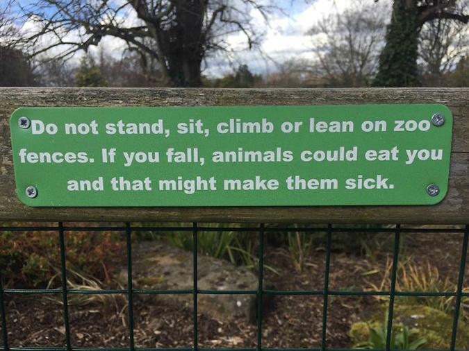 Funny Threatening Signs Sign at Irish Zoo