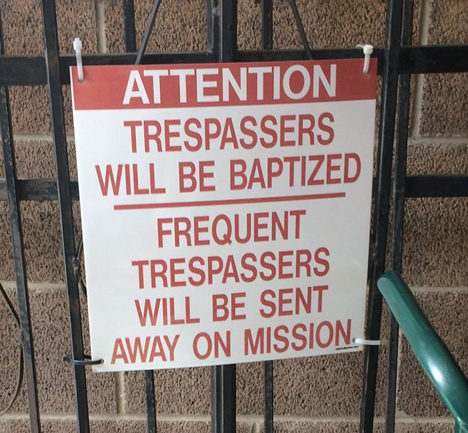 Funny Threatening Signs at local orthodox church