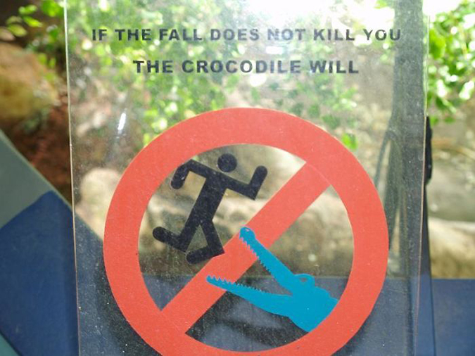 Funny Threatening Signs crocodile enclosure at sydney
