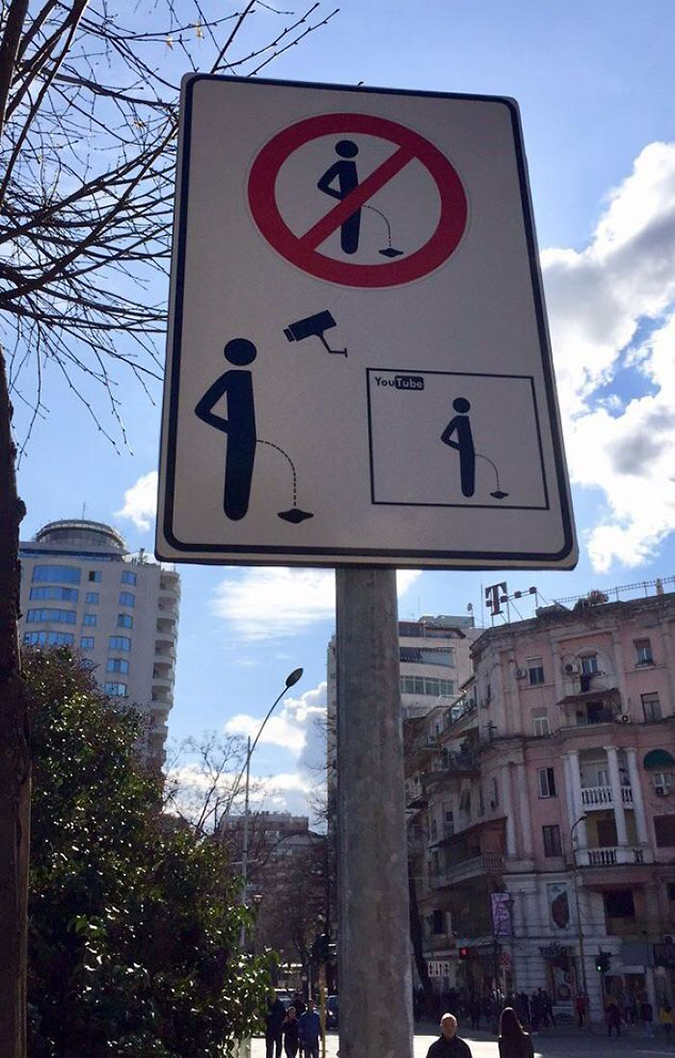 Funny Threatening Signs gotta be bold to urinate in albania