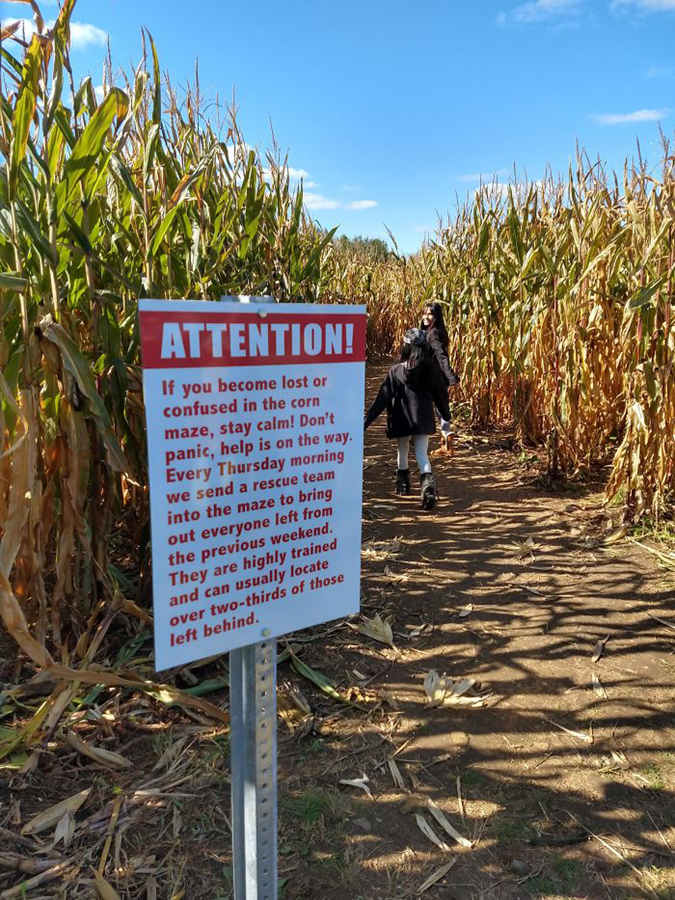 Funny Threatening Signs this cornmaze